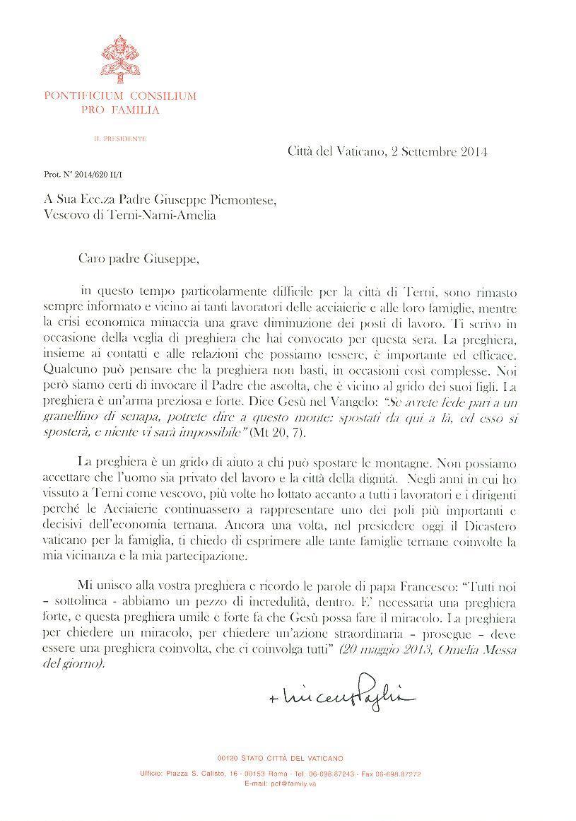 Lettera a Terni